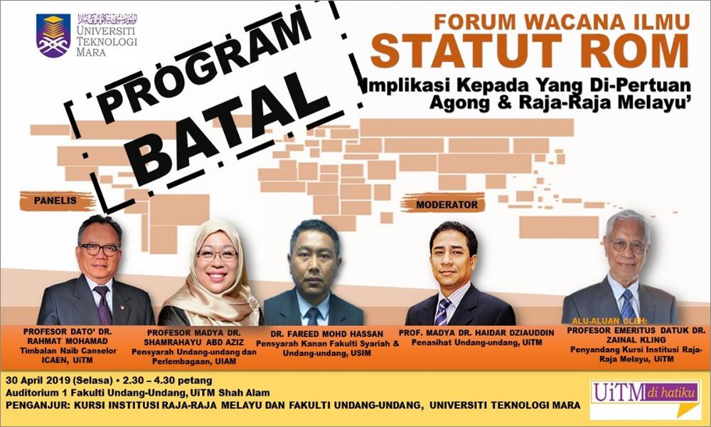 Malaysiakini Rome Statute Forum At Uitm Cancelled